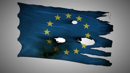 valente : European Union, EU, bullet perforated, burned, grunge standard flag waving on a wind with alpha loop seamless Vídeos