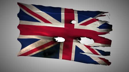 büyük britanya : England, British, Great Britain, United Kingdom, GB bullet perforated, burned, grunge standard flag waving on a wind with alpha loop seamless Stok Video