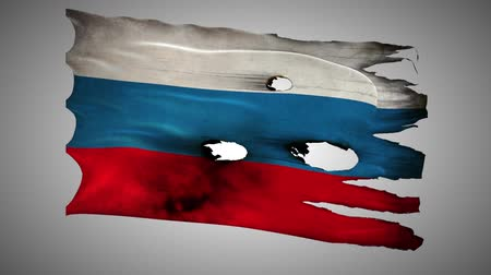 valiant : Russian Federation, RU, RUS bullet perforated, burned, grunge standard flag waving on a wind with alpha loop seamless Stock Footage