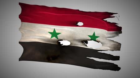 valiant : Syria, Arab Republic, SY, bullet perforated, burned, grunge standard flag waving on a wind with alpha loop seamless