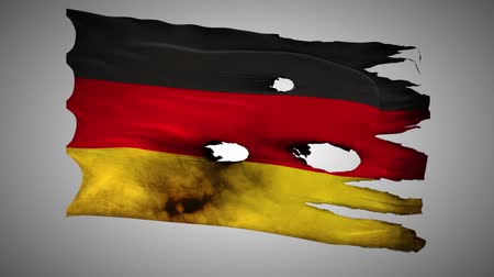valiant : Germany,Federal Republic, DE, bullet perforated, war, burned, grunge standard flag waving on a wind, loop alpha