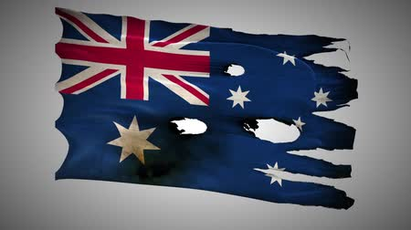 valiant : Australia perforated, burned, grunge waving flag loop alpha Stock Footage