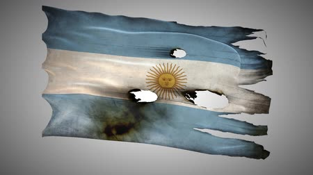 valiant : Argentina perforated, burned, grunge waving flag loop alpha