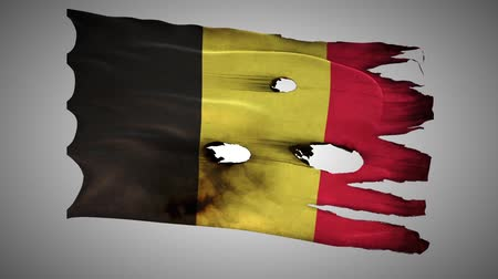 valiant : Belgium perforated, burned, grunge waving flag loop alpha Stock Footage