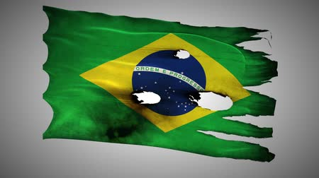 valiant : Brazil perforated, burned, grunge waving flag loop alpha Stock Footage