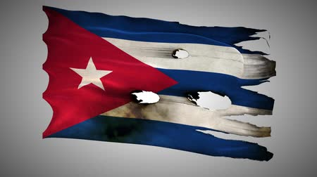 valiant : Cuba perforated, burned, grunge waving flag loop alpha Stock Footage
