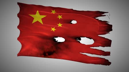 valente : China perforated, burned, grunge waving flag loop alpha