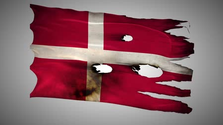 valiant : Denmark perforated, burned, grunge waving flag loop alpha Stock Footage