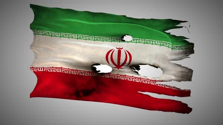 valiant : Iranian perforated, burned, grunge waving flag loop alpha Stock Footage