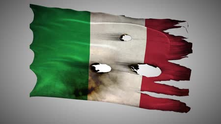 valiant : Italian perforated, burned, grunge waving flag loop alpha Stock Footage