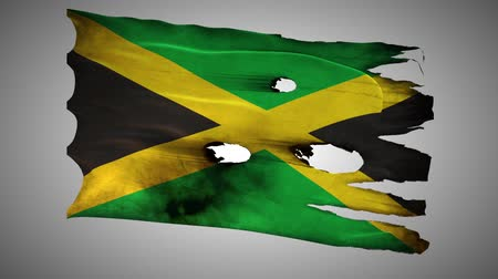 valiant : Jamaica perforated, burned, grunge waving flag loop alpha Stock Footage