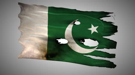 valiant : Pakistani perforated, burned, grunge waving flag loop alpha