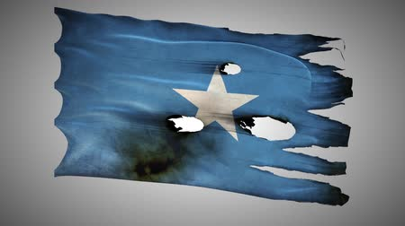 valiant : Somalian perforated, burned, grunge waving flag loop alpha
