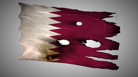 valiant : Qatar perforated, burned, grunge waving flag loop alpha