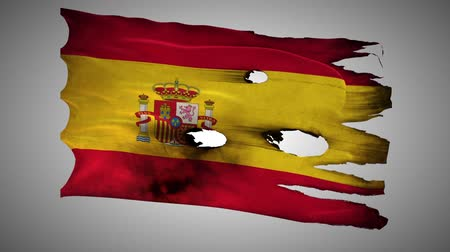valiant : Spain perforated, burned, grunge waving flag loop alpha Stock Footage