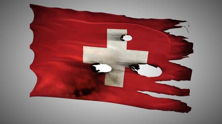 delikleri : Switzerland, perforated, burned, grunge waving flag loop alpha Stok Video