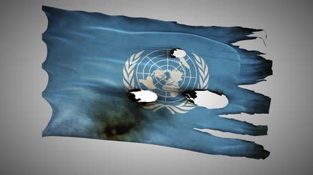 valiant : United Nations perforated, burned, grunge waving flag loop alpha