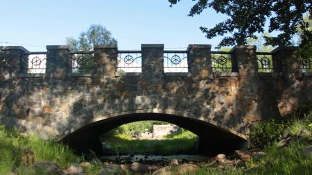 tüm : Stone bridge in the park over a dried-up stream in a clear summer day Stok Video