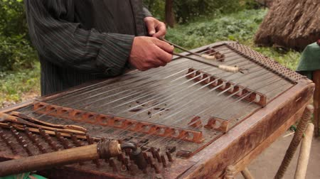 kiev : Playing the dulcimer folk musical instrument from Europe