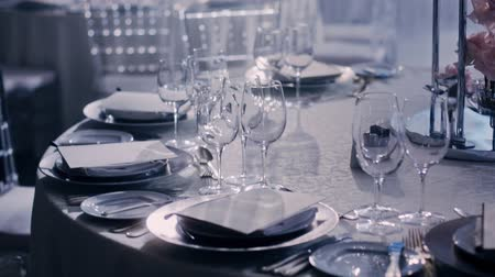 beautiful place : Camera moving aroung a wedding decorated table from left to right on dark background and smoke or haze, and light sparkles in dishes.