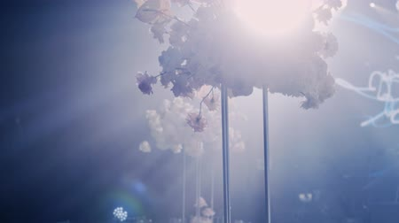 Left to right parralax and tilt up and tilt down shot of beautiful wedding decor bouquet in tall metall vase on dark background and rays of light beaming trough smoke or haze.