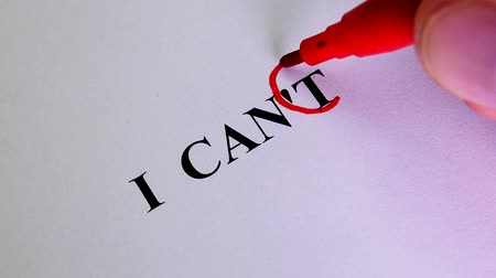 cant : Motivation Concept For Business. Remove The Word I Cant To Read I Can Concept For Self Belief, Positive Attitude And Motivation. The Hand Crosses out the Part of the Text on the Paper