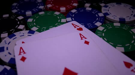 díszgomb : Double Diamonds Aces On Poker Chips. Poker Table With Chips In Casino