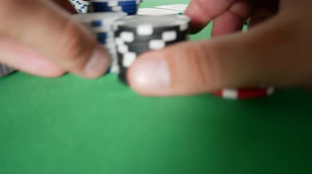 díszgomb : Poker Player Moves Casino Chips on Table. Winner In Poker. Poker Player Going All In