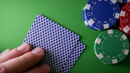 díszgomb : Casino Chips, Aces And King On Green Table At Casino. Winner In Poker