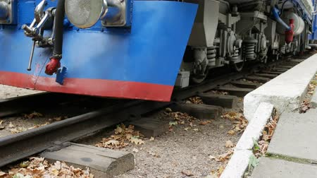 stoommachine : De Blue Train Leave Railroad Station op rails in bos in de herfst