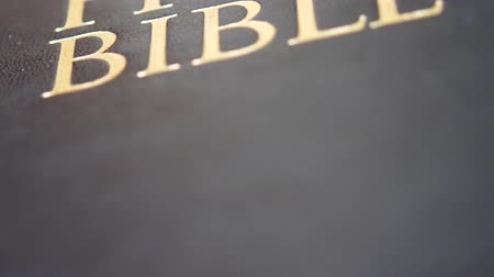 bohové : Open holy bible with sun light on wooden deck on sunday readings. Concept of wisdom, religion, reading, imagination. Light coming from opening bible book. Bible pages turning showing biblical story Dostupné videozáznamy