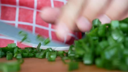 cebolinha : Person cutting green onions with knife on wooden board in the kitchen
