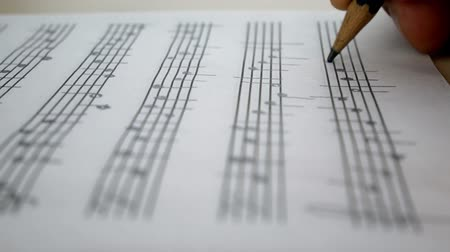 compositor : Composer Comes Down a Song and Records Musical Notes Of Melody On A Paper Leaf by Pensil Vídeos