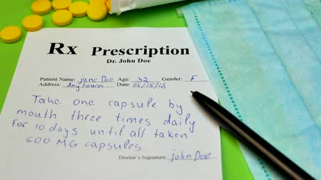 suplemento : Prescription for tablet pills or drugs on green background with bottle and yellow tablets or pills and medical mask and black pen Stock Footage