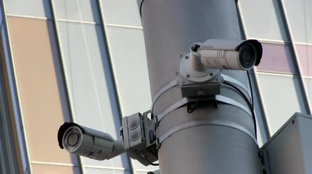 infrared : Multi-angle CCTV system with city background
