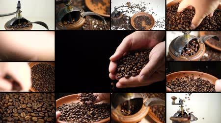 çuval : Montage composition collage on antique coffee grinder with coffee beans. Barista grinding coffee seeds