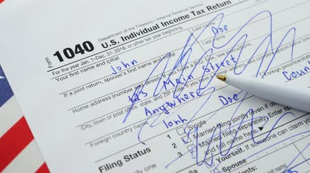 refund : American 1040 Individual Income Tax return form. Depressed and stressed or troubles during filing Tax Forms concept