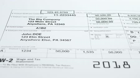 penny : W-2 Tax Form and statement. Filling tax information concept