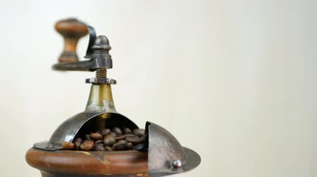 grãos de café : Vintage coffee grinder with brown coffee beans rotates on white background Vídeos
