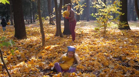 krans : Little cute girl in blue neon color hat and yellow scarf jumping into leaves at park in autumn and trees. Mother knits a yellow leaf wreath background