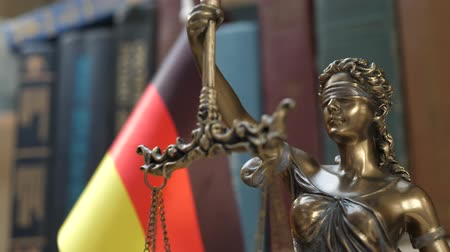 sala de tribunal : Statue of Lady Justice with Bookshelf with Books and Germany Flag Background. Tribunal and justice concept. Consultation with insurance lawyer and customer