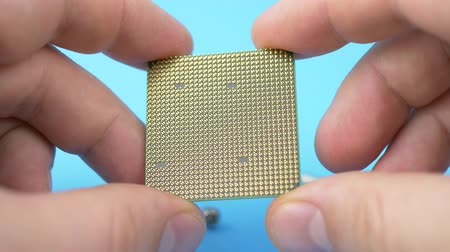componente : Hand Holds CPU Chip Processor and Examines It on Blue Background Stock Footage