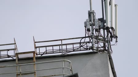 パイロン : Mobile phone base station. Telecommunication GSM mast (5G, 4G, 3G concept) 動画素材