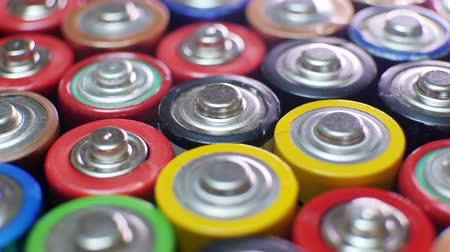 nikl : Collection of old used AAA batteries. Electronic waste, collection and recycling, high danger for environment concept