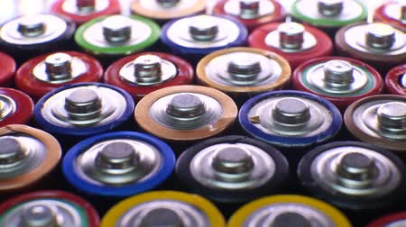 メーカー : Lot of used batteries from different manufacturers. Electronic waste, collection and recycling, high danger for environment concept