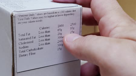 telített : Man Reading Nutrition Label on Food Packaging