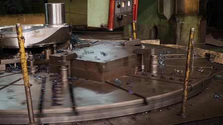 powerplant : Metal blank machining process on lathe with cutting tool of making or manufacturing rotor of steam turbine at workshop at metalworking factory. Process of cutting metal at plant
