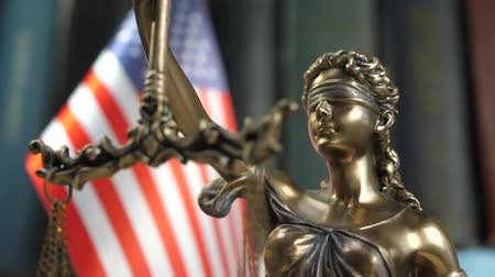 veredito : Statue of Lady Justice with Books and United States of America Flag. Tribunal and justice concept. Consultation with insurance lawyer and customer Vídeos