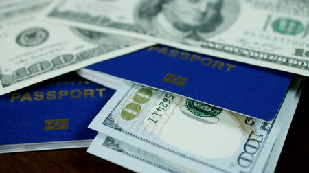 pasaport : Dollar bills and blue ID passport on wooden background. Spend your vacation abroad. Visa opened concept Stok Video