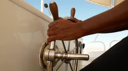 winch : Steering wheel on motorboat used by boat captain on ship or yacht bridge